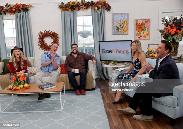 Paige Hemmis Matt Iseman Horatio Sanz Debbie Matenopoulos and Mark Steines talk on the set of Hallmark's 'Home and Family' at Universal Studios...