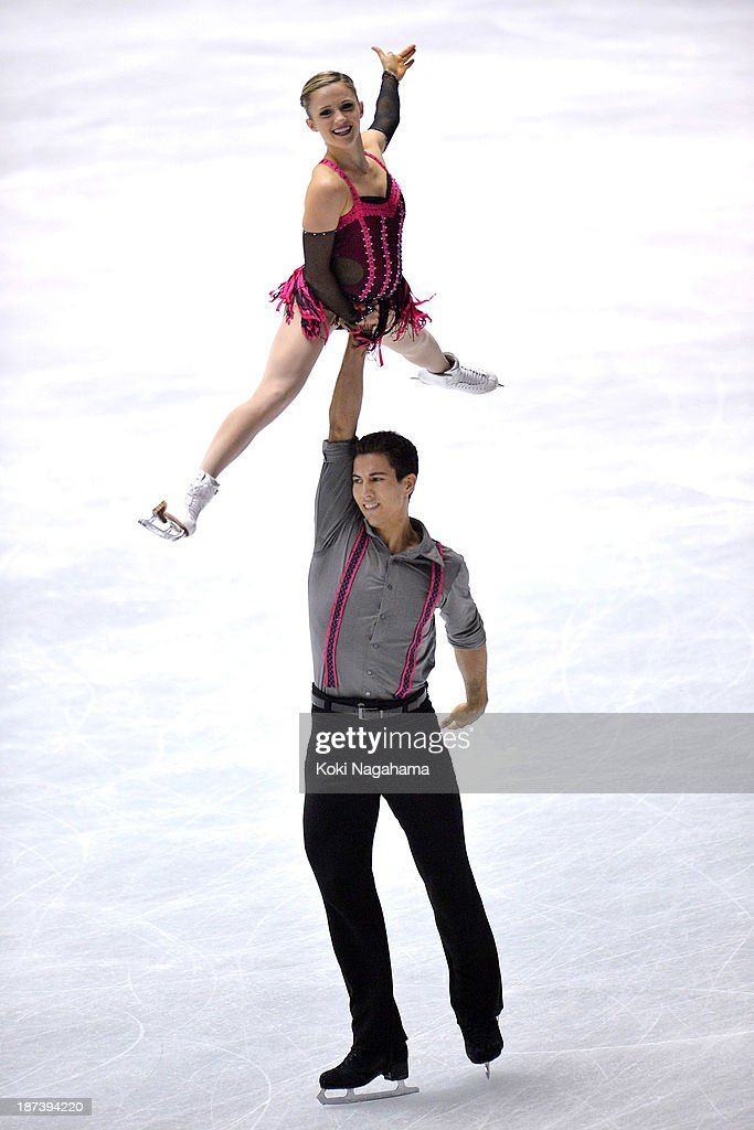 Paige Lawrence and Rudi Swiegers of Canada competes in the pair short program during day one of ISU Grand Prix of Figure Skating 2013/2014 NHK Trophy at Yoyogi National Gymnasium on November 8, 2013 in Tokyo, Japan.