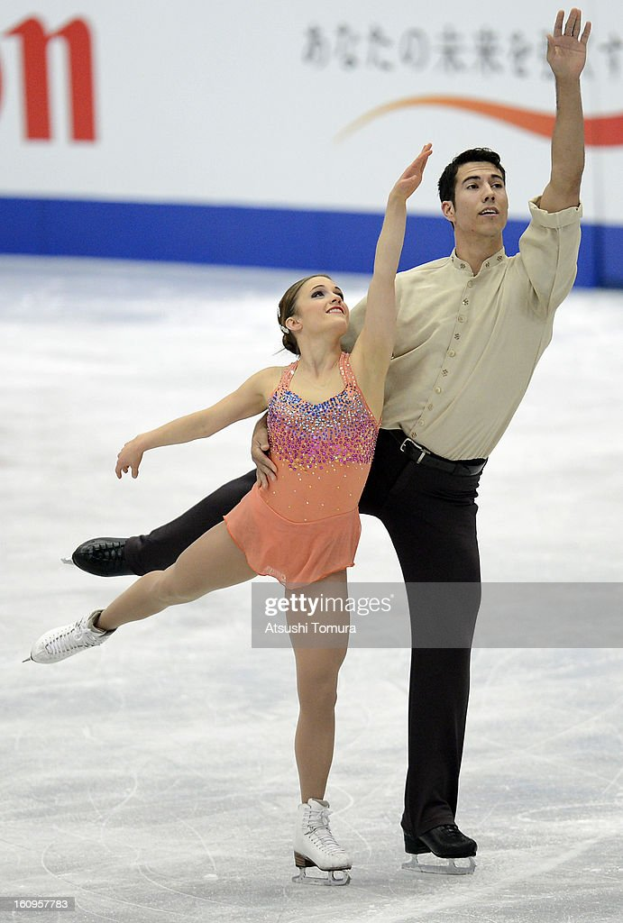 Paige Lawrence and Rudi Swiegers of Canada skate in the Pairs Short Program during day one of the ISU Four Continents Figure Skating Championships at Osaka Municipal Central Gymnasium on February 8, 2013 in Osaka, Japan.