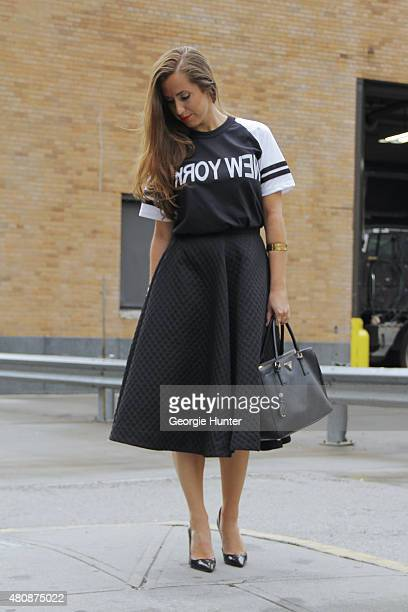 Paige Matteo seen at Skylight Clarkson Sq outside the Richard Chai show wearing HM skirt vintage Tshirt Gianvito Rossi shoes Prada bag bracelets by...