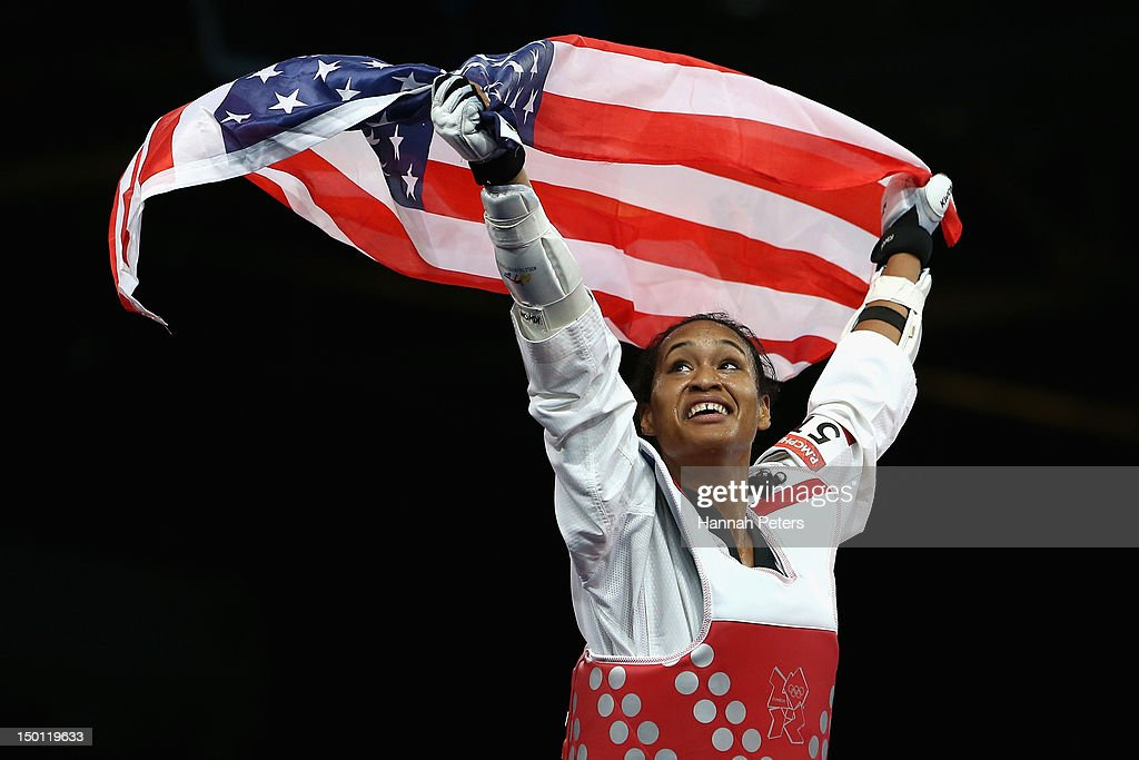 Paige Mcpherson of the United States celebrates winning the Bronze medal in the Women's 67kg Taekwondo Bronze Medal Finals against Franka Anic of...