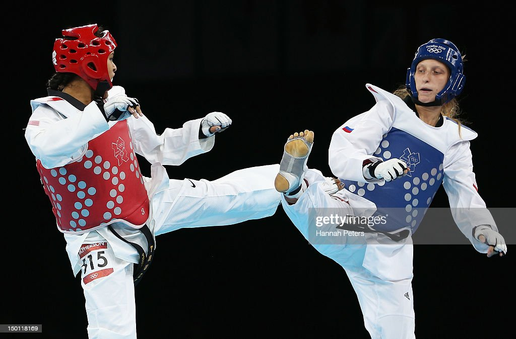 Paige Mcpherson of the United States competes against Franka Anic of Slovenia in the Women's 67kg Taekwondo Bronze Medal Finals on Day 14 of the...