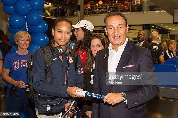 Paige McPherson United Airlines CEO Oscar Munoz and United Airlines celebrate Team USA as over 85 US athletes get ready to board their flight at...