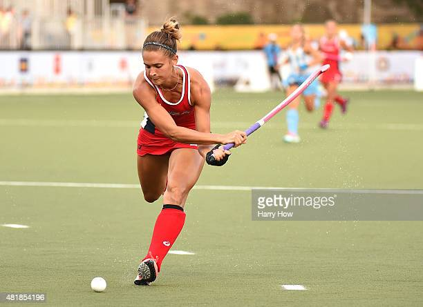 Paige Selenski of the United States of America takes a shot against Argentina in the women's field hockey gold medal game during the 2015 Pan Am...