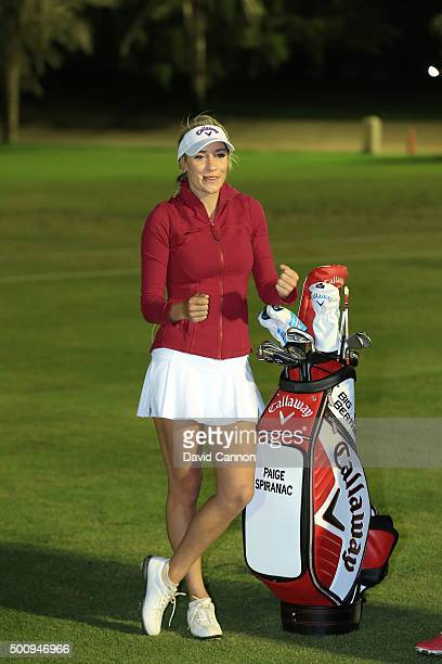 Paige Spiranac of the United States during the star players clinic after the third round of the 2015 Omega Dubai Ladies Masters on the Majlis Course...