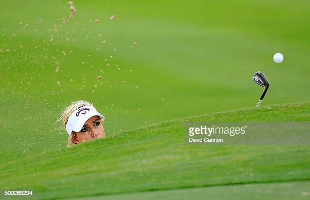 Paige Spiranac of the United States in action during her practice round as a preview for the 2015 Omega Dubai Ladies Masters on the Majlis Course at...