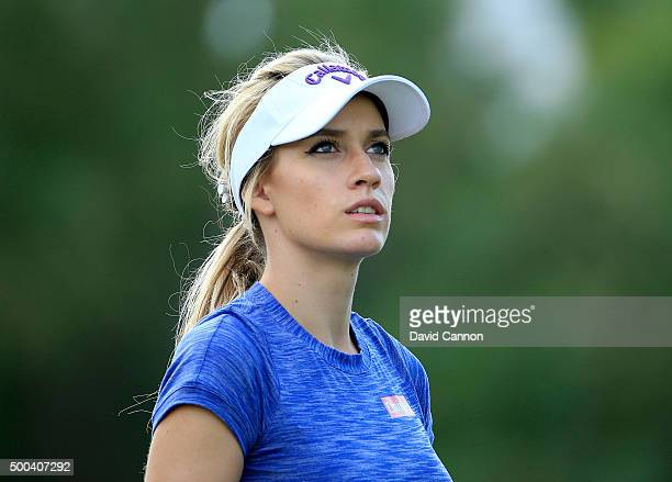 Paige Spiranac of the United States in action during the proam as a preview for the 2015 Omega Dubai Ladies Masters on the Majlis Course at The...