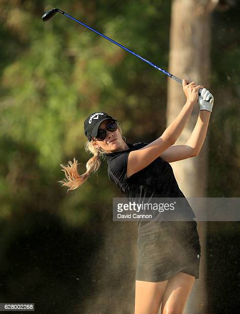 Paige Spiranac of the United States in action during the proam as a preview for the 2016 Omega Dubai Ladies Masters on the Majlis Course at the...
