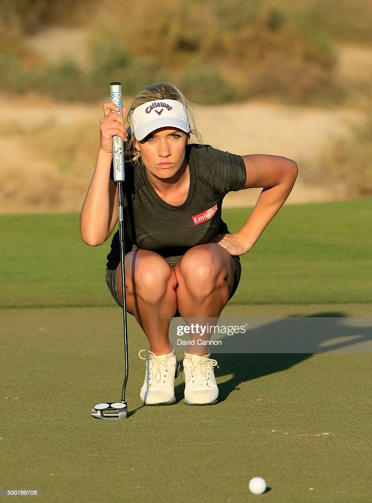 Paige Spiranac of the United States lines up a putt for par on the par 3 15th hole during the second round of the 2015 Omega Dubai Ladies Masters on...