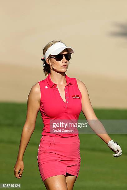 Paige Spiranac of the United States on the 14th hole during the delayed second round of the 2016 Omega Dubai Ladies Masters on the Majlis Course at...