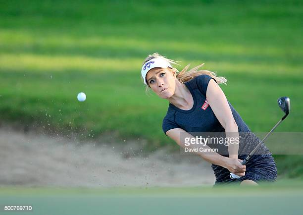 Paige Spiranac of the United States plays her second shot on the par 3 15th hole during the second round of the 2015 Omega Dubai Ladies Masters on...