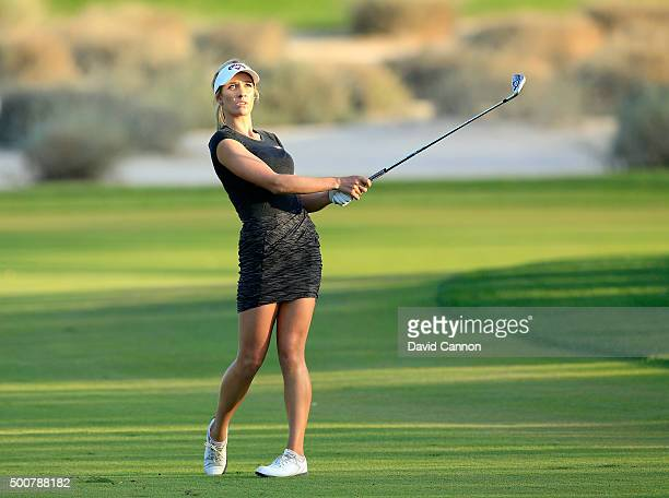 Paige Spiranac of the United States plays her second shot on the par 4 16th hole during the second round of the 2015 Omega Dubai Ladies Masters on...