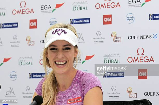 Paige Spiranac of the United States speaks to the media during her press conference as a preview for the 2015 Omega Dubai Ladies Masters on the...