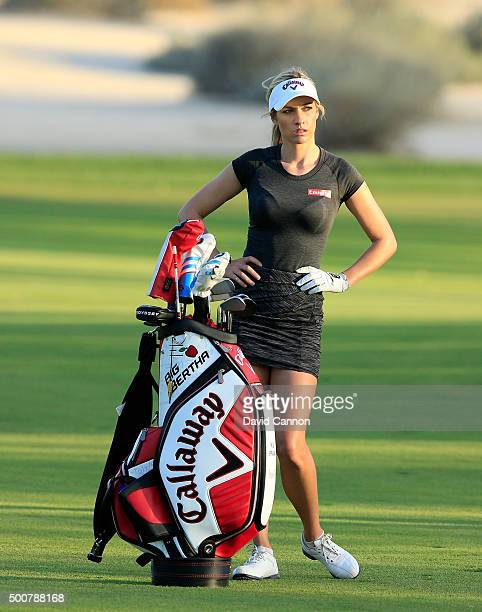 Paige Spiranac of the United States waits to play her second shot on the par 4 16th hole during the second round of the 2015 Omega Dubai Ladies...