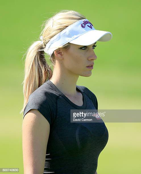 Paige Spiranac of the United States walks to her third shot on the par 4 first hole during the second round of the 2015 Omega Dubai Ladies Masters on...