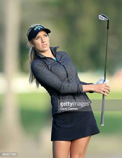 Paige Spiranac of United States plays her fourth shot at the par 5 10th hole during the first round of the 2015 Omega Dubai Ladies Masters on the...