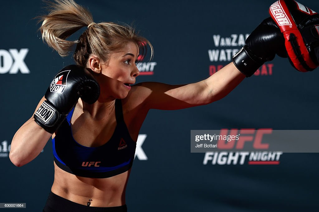 Paige VanZant holds an open training session for fans and media at the Golden 1 Center on December 15, 2016 in Sacramento, California.