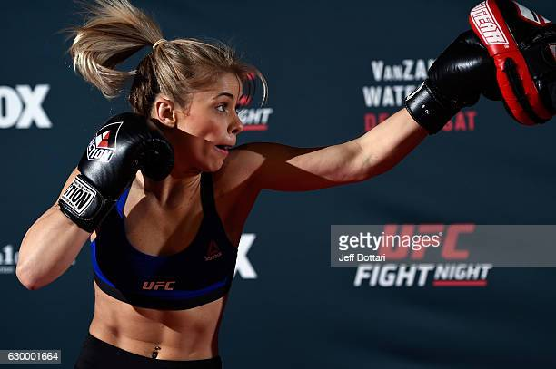 Paige VanZant holds an open training session for fans and media at the Golden 1 Center on December 15 2016 in Sacramento California
