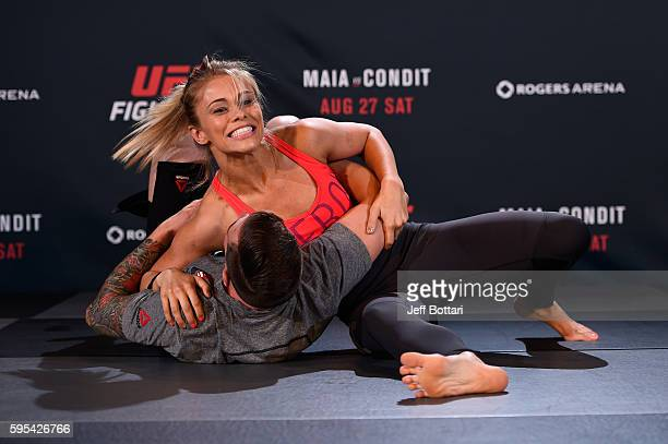 Paige VanZant holds an open workout session for media and fans at the Hyatt Regency Vancouver on August 25 2016 in Vancouver Canada