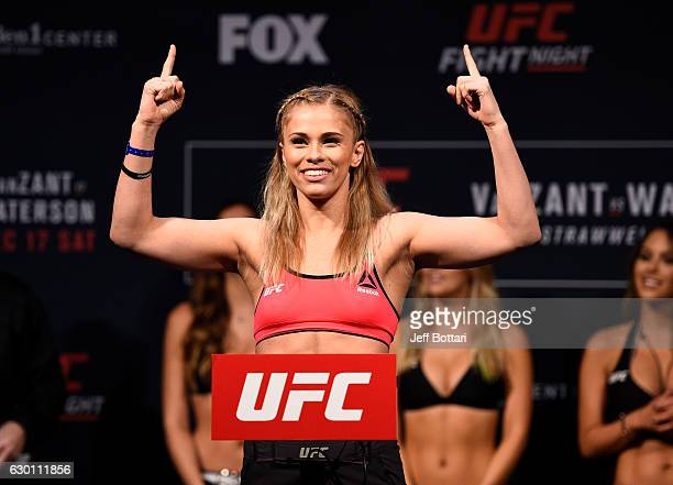 Paige VanZant poses on the scale during the UFC Fight Night weighin inside the Golden 1 Center Arena on December 16 2016 in Sacramento California