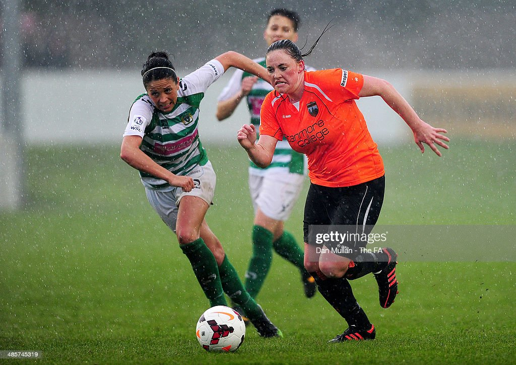 Paige Wakefield of London Bees holds off Jade LortonRadburn of Yeovil during the FA SWL 2 match between Yeovil Town Ladies and London Bees at Raleigh...