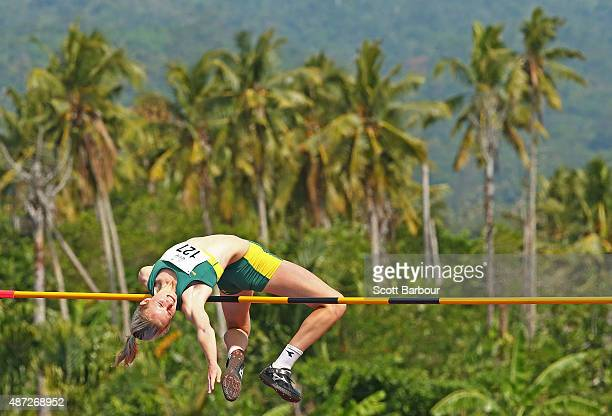 Paige Wilson of Australia jumps in the Girls High Jump during the Athletics at the Apia Park Sports Complex on day two of the Samoa 2015 Commonwealth...