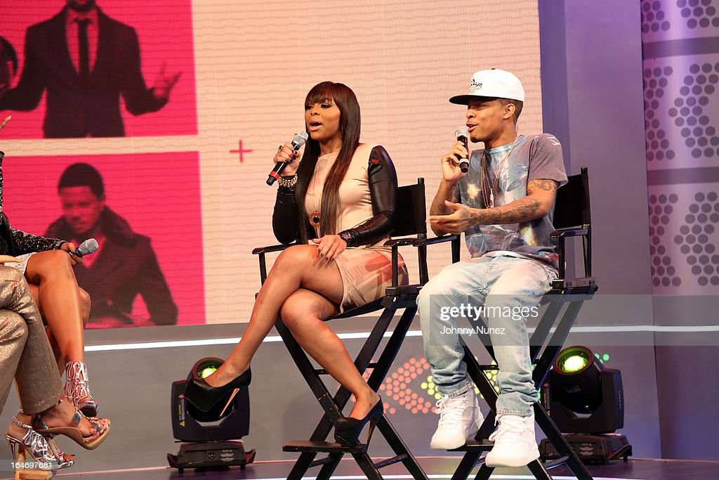 Paigion and <a gi-track='captionPersonalityLinkClicked' href=/galleries/search?phrase=Bow+Wow+-+Rapper&family=editorial&specificpeople=211211 ng-click='$event.stopPropagation()'>Bow Wow</a> host BET's '106 & Park' at BET Studios on March 26, 2013, in New York City.