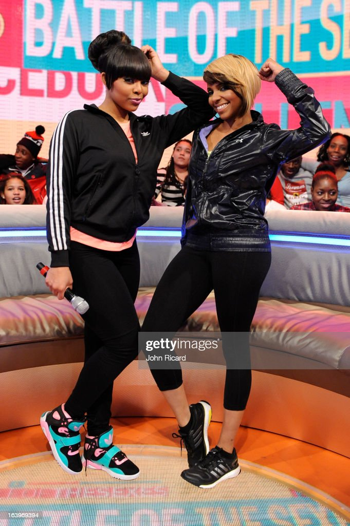 Paigion and Miss Mykie at BET's 106 & Park Studio on March 18, 2013 in New York City.