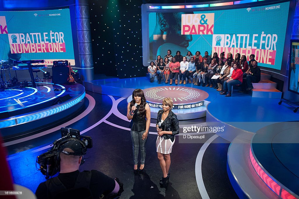 Paigion (L) and Miss Mykie host BET's '106 & Park' at BET Studios on February 13, 2013 in New York City.