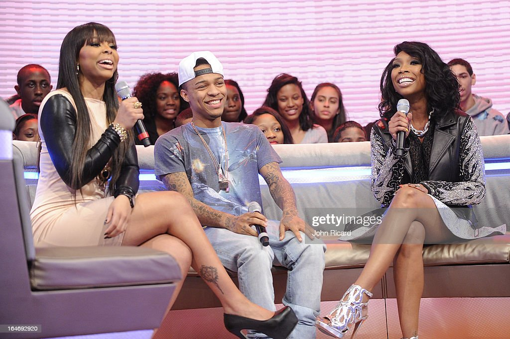 Paigion, <a gi-track='captionPersonalityLinkClicked' href=/galleries/search?phrase=Bow+Wow&family=editorial&specificpeople=211211 ng-click='$event.stopPropagation()'>Bow Wow</a> and Brandy Norwood visit BET's 106 & Park at BET Studios on March 26, 2013 in New York City.