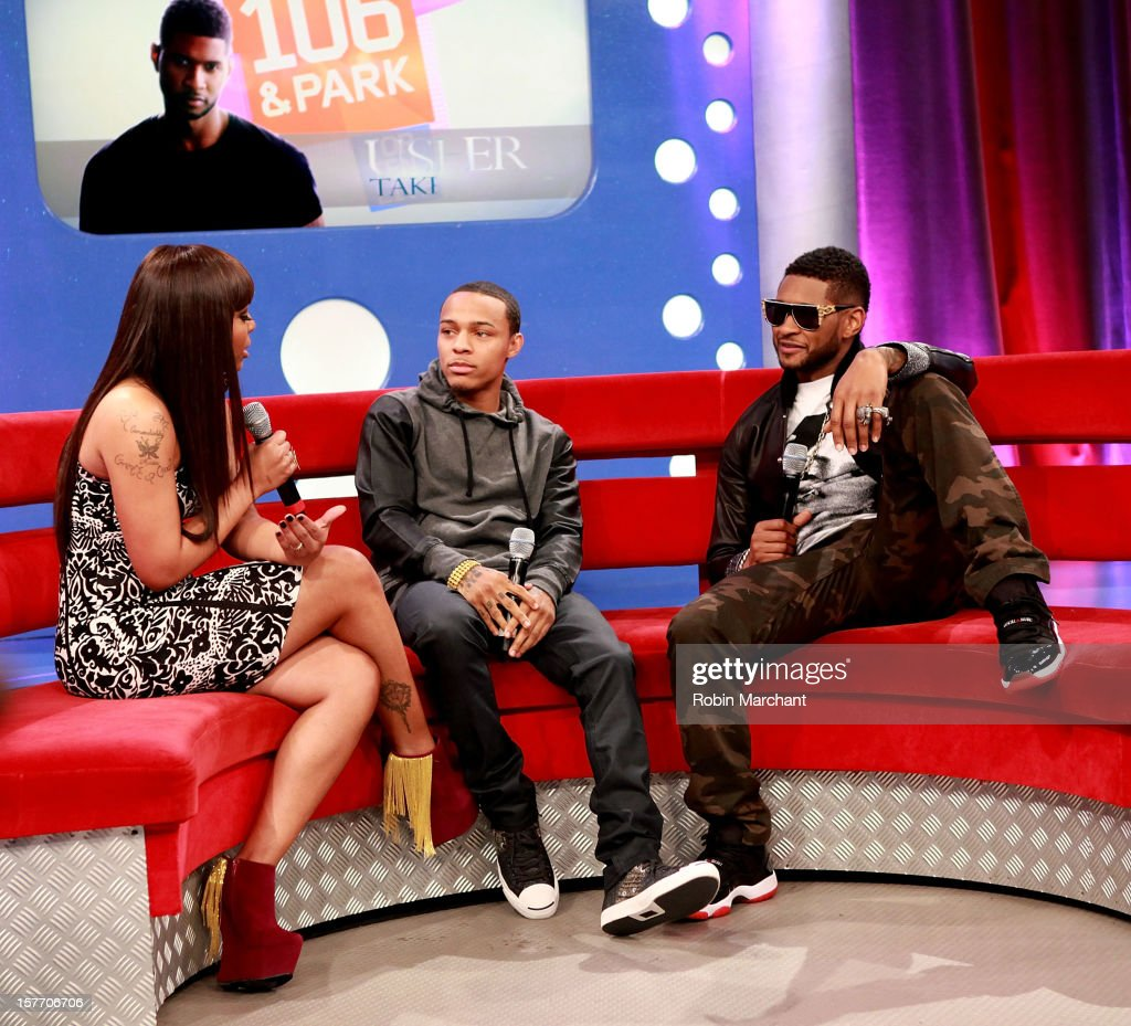 Paigion , <a gi-track='captionPersonalityLinkClicked' href=/galleries/search?phrase=Bow+Wow+-+Rapper&family=editorial&specificpeople=211211 ng-click='$event.stopPropagation()'>Bow Wow</a> and Usher visit 106 & Park studio on December 5, 2012 in New York City.