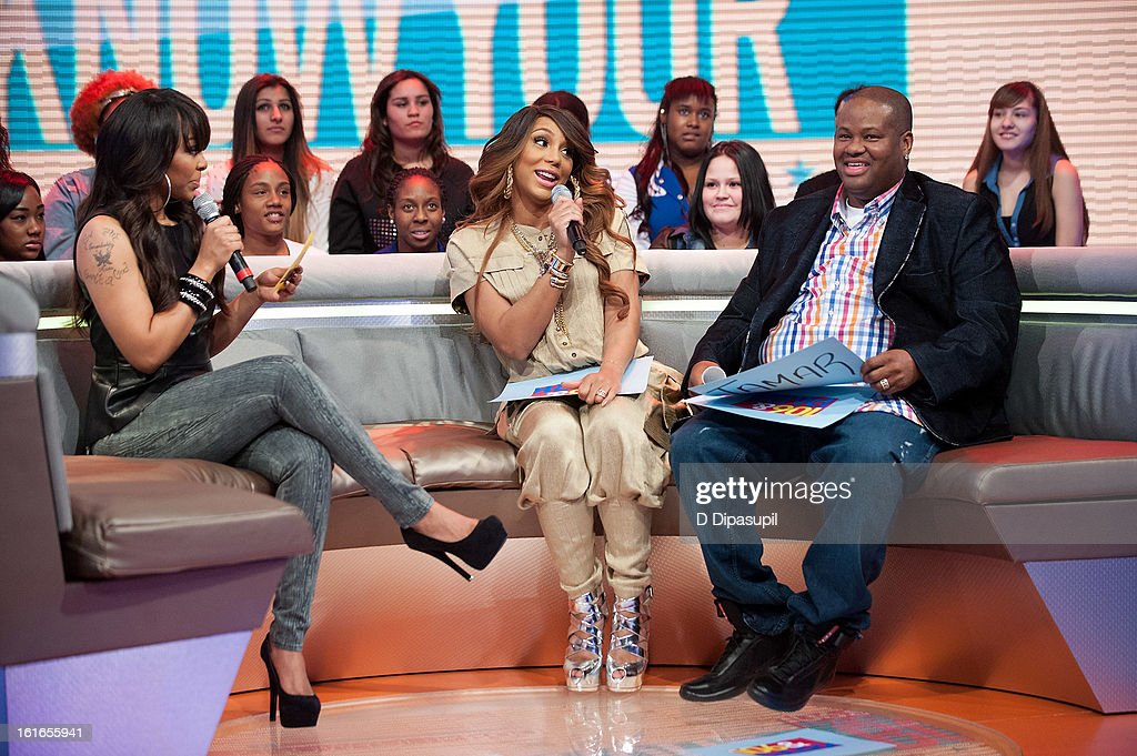 Paigion, Tamar Braxton, and Vincent Herbert visit BET's '106 & Park' at BET Studios on February 13, 2013 in New York City.