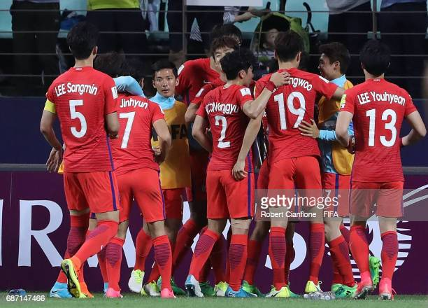 Paik Seungho of Korea Republic celebrates with teammates after scoring a goal during the FIFA U20 World Cup Korea Republic 2017 group A match between...