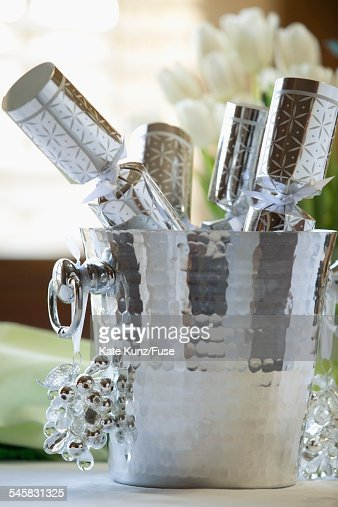 Pail of Christmas cracker toys : Stock Photo