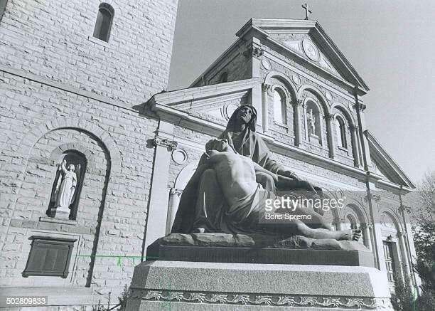 Pain and Sorrow Statue in front of St Paul's Church in downtown Toronto was erected to the memory of Michael Power first Roman Catholic bishop of...