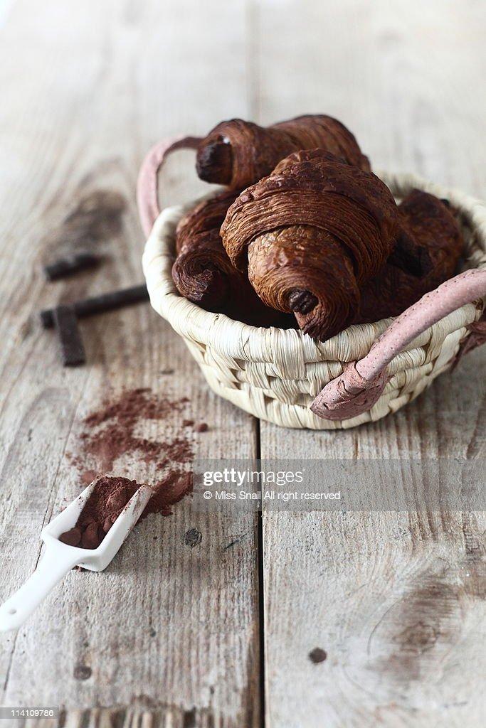 Pain au chocolat in basket