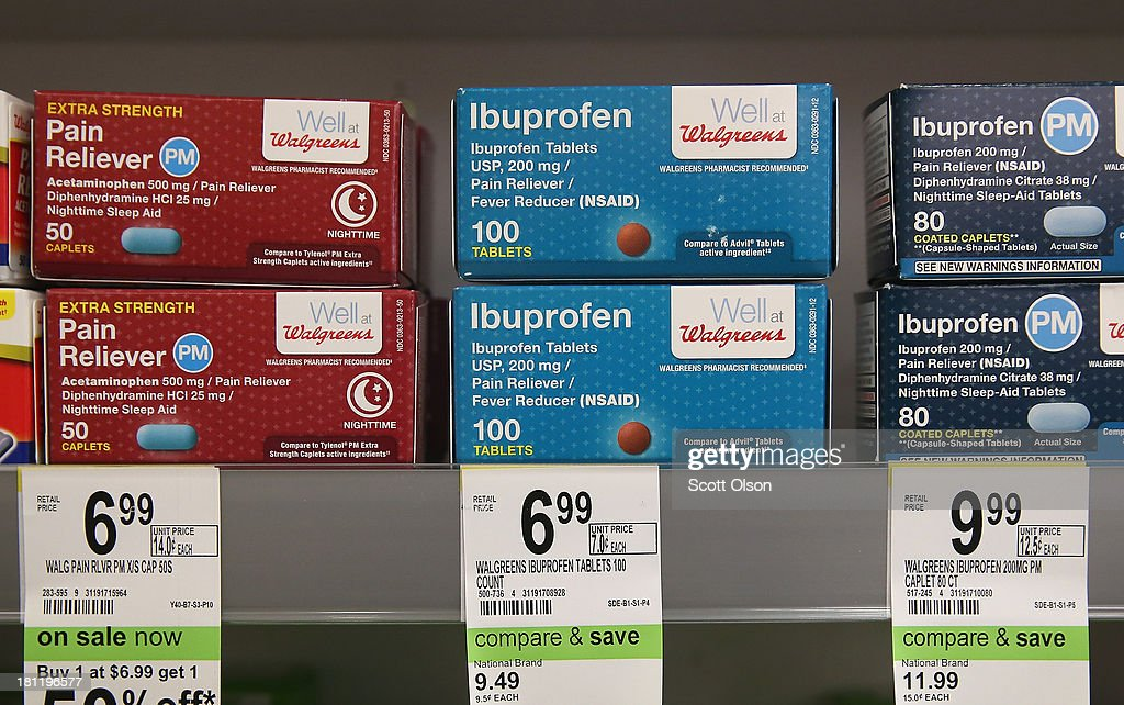 Pain medication is offered for sale at a Walgreens store on September 19, 2013 in Wheeling, Illinois. Walgreens, the nation's largest drugstore chain, has been expanding the merchandise offerings at many of their stores to include fresh food and other grocery items.