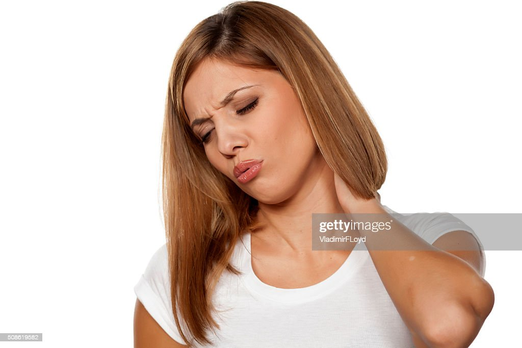 painful neck : Stock Photo