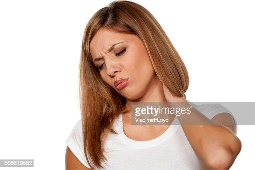 painful neck : Stock Photo