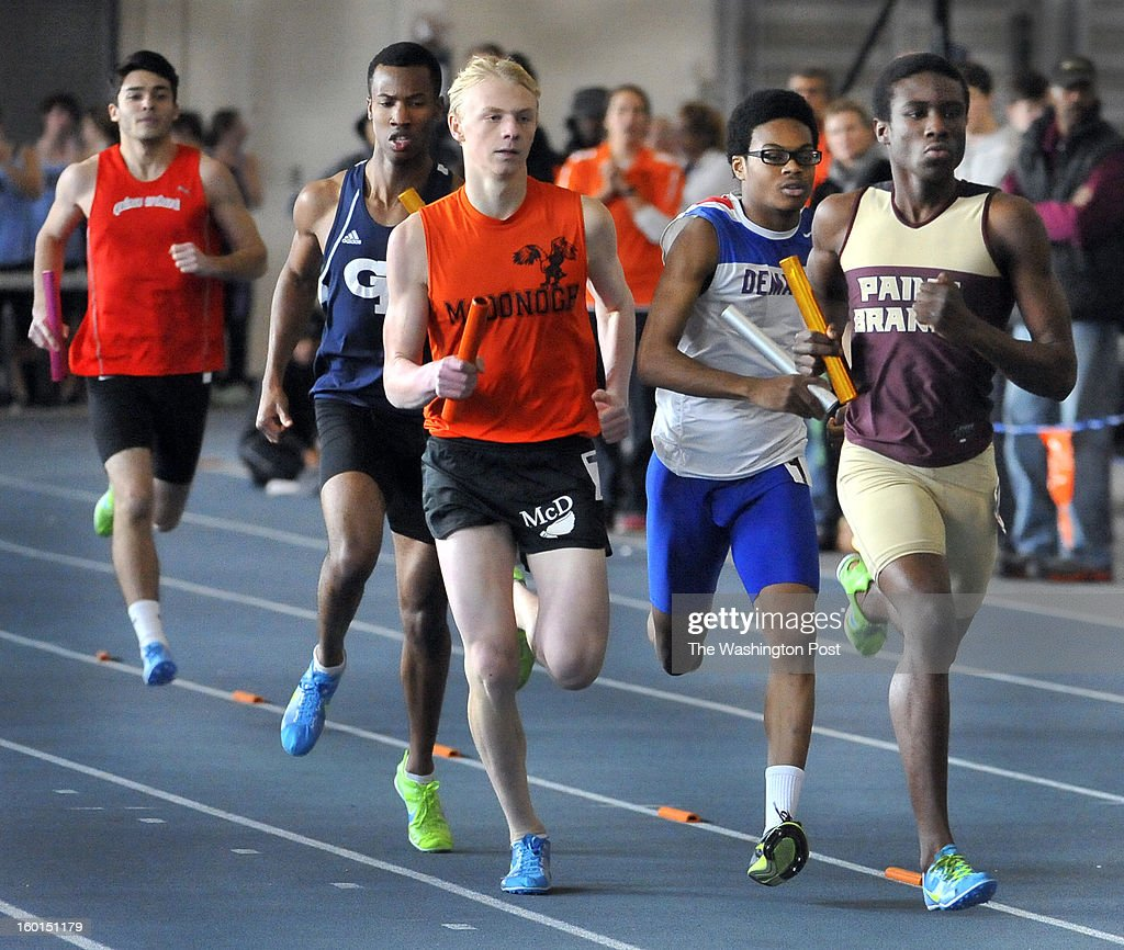 Paint Branch's Oliver Lloyd, McDonogh's Mike Singer and DeMatha's Darius Williams lead the field at the start of the last lap of the boys 1600 sprint medley in the Georgetown Prep's Last Track to Philly Meet on Saturday, January 26, 2013.