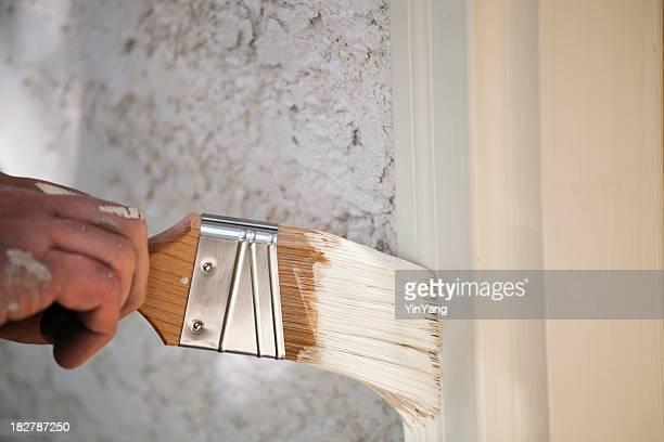 Peinture Brosse de peinture en bois de la fenêtre Frame mouvement