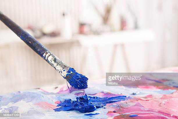Paint Brush mixing blue color