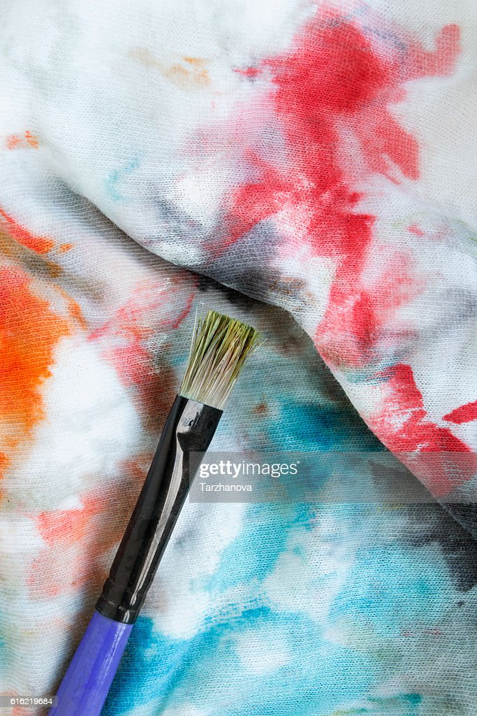 Paint brush on cloth : Stockfoto