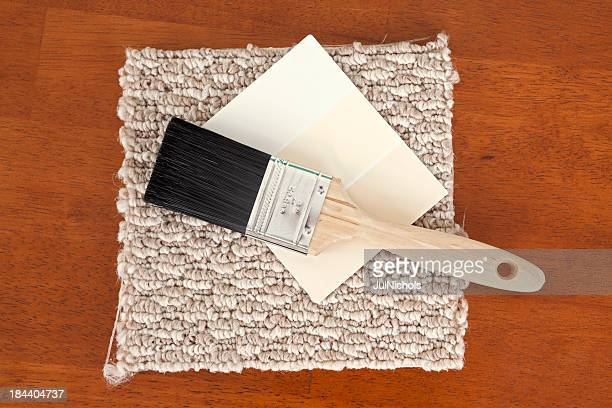 Paint Brush with Color Swatches and Carpet Sample