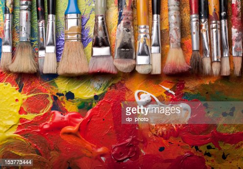 Paint brushes in a row