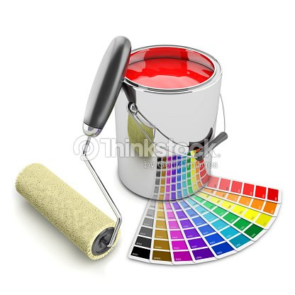 paint can palette and roller brush concept 3d stock photo thinkstock. Black Bedroom Furniture Sets. Home Design Ideas