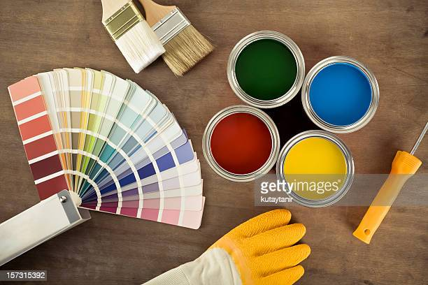 Paint cans and color chart