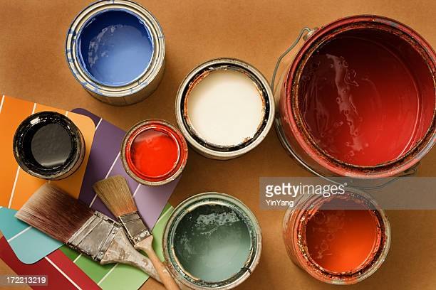 Paint Cans for Home Decorating and Improvement, Brushes, Color Swatches