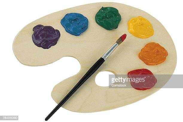 Paint pallet with rainbow colors