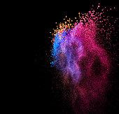 Paint powder splash on black background